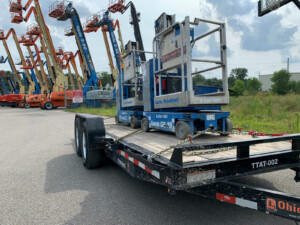 Rented construction equipment on a trailer. OHR Rents in Cleveland